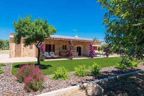 Welcome to this beautiful rustic villa for 2-4 people on the outskirts of Búger. This wonderful villa has a beautiful and cosy Mallorcan stone construction - surrounded by fields and green artificial lawn in front of it -, being the real protagonist....