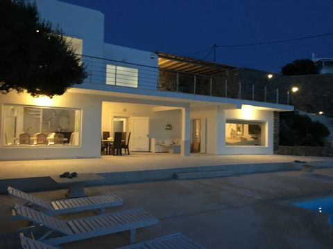 Villa Costa Delos in Mykonos,Greece is a seaside majestic and breathtaking newly fully renovated (2015) property 315 m² in a 1300 m² plot, located in the South-West part of the island, with a superb view of the Aegean and Delos island. The villa offe...