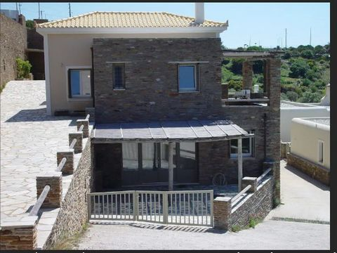 ANDROS Kato Aprovato, for sale newly built maisonette of 240 sq.m., semi basement - ground floor, 4 bedrooms, built in 2009, 4 bathrooms, villa, stone, autonomous heating, air conditioning, fireplace, storey house. Unique villa of excellent construct...